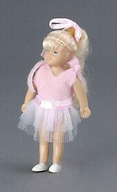 Девочка блондинка, 8,9 см, кукольная миниатюра 1:12 (Dollhouse), Premium арт. 00004 (Pr)