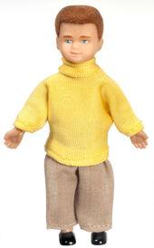 Мальчик с рыжими волосами, 8,9 см, кукольная миниатюра 1:12 (Dollhouse), Premium арт. 00005 (Pr)