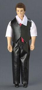 Мужчина в кожаных брюках и жилете, 15,2 см, кукольная миниатюра 1:12 (Dollhouse), Premium арт. 00008 (mm)