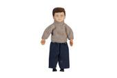 Мальчик брюнет, 8,9 см, кукольная миниатюра 1:12 (Dollhouse), Premium арт. 00015 (P%)