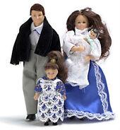 Семья из 4 человек, брюнеты, кукольная миниатюра 1:12 (Dollhouse), Premium арт. 00050 (Pr)