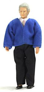 Пожилой мужчина в синей кофте, 15,2 см, кукольная миниатюра 1:12 (Dollhouse), Premium арт. 00068 (mm)