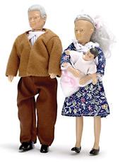 Дедушка 15см, бабушка 14см, малыш 5 см, кукольная миниатюра 1:12 (Dollhouse), Premium арт. 00070 (Pa)