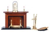 Камин с аксессуарами, орех, 7*3,5*12,5 см, кукольная миниатюра 1:12 (Dollhouse), Premium арт. 00307 (Pr)