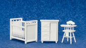 Детская, 3 предмета, белая, кр.(9,5х11х7см), стол(9,5х4х8,6см), стульчик(9,5х5х5см), кукольная миниатюра 1:12 (Dollhouse), Premium арт. 00308 (P%)