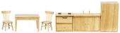 Кухня, 6 предметов, дуб, стол(5,1х5,7х9,8см), хол.(12,7х4,8х7 см), рак.(5,1х4,8х10,8см), плита(5,1х4,1х7см), стул(8,3х4,1см), кукольная миниатюра 1:12 (Dollhouse), Premium арт. 03780 (Pa)