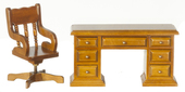 Мебель для кабинета, орех, кресло(7,9х4,8х4,8см), стол(6,4х4,1х12,4см), кукольная миниатюра 1:12 (Dollhouse), Premium арт. 04683 (P%)