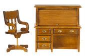 Мебель для кабинета, 2 предмета, орех, стол 10,8*4,8*10,8 см, стул 8,9*3,8*3,2 см , кукольная миниатюра 1:12 (Dollhouse), Premium арт. 05298 (Pr)
