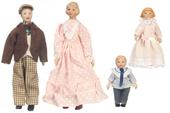 Семья из 4 человек, фарфор, кукольная миниатюра 1:12 (Dollhouse), Premium арт. 06816 (Pa)