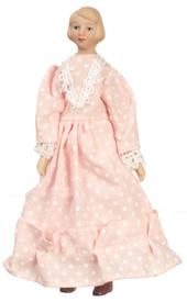 Кукла дама в розовом платье, фарфор, кукольная миниатюра 1:12 (Dollhouse), Premium арт. 06818 (P%)