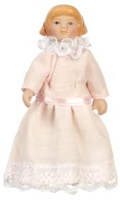 Кукла девочка с рыжими волосами, фарфор, кукольная миниатюра 1:12 (Dollhouse), Premium арт. 06819 (P%)