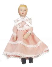 Кукла девочка в розовом платье, фарфор, кукольная миниатюра 1:12 (Dollhouse), Premium арт. 06824 (Pr)