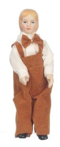 Кукла мальчик в коричневых штанах, фарфор, кукольная миниатюра 1:12 (Dollhouse), Premium арт. 06825 (P%)