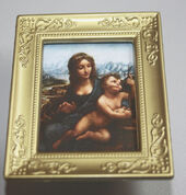 "Постер в раме, Леонардо да Винчи ""Мадонна и ребенок"",6,5х5 см, миниатюра 1:12 (Dollhouse), Dollsmini арт. 01.00102/5 (dh)"