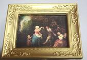 "Постер в раме, Жан Ватто ""Танцы"",6,5х5 см, миниатюра 1:12 (Dollhouse), Dollsmini арт. 01.00105/5 (dh)"