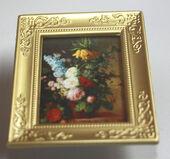 """Постер в раме, В. Хеккинг """"Цветы"""",6х5 см, миниатюра 1:12 (Dollhouse), Dollsmini арт. 01.00107/5 (dh)"""