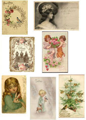 "Набор ""C"" из 7 винтажных открыток, 1,8х1,2 см, миниатюра 1:12 (Dollhouse), Dollsmini арт. 01.00113/5 (dh)"