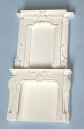 Заготовка из гипса. Камин, 2 части, цвет белый, миниатюра 1:12 (Dollhouse), Dollsmini арт. 01.0171/5 (dh)