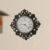 Настенные часы с металлической филигранной окантовкой, 3,4х3,4 см, кукольная миниатюра 1:12 (Dollhouse), Emporium арт. 3585 (mm)