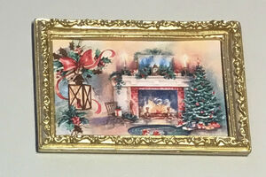 """Постер в раме """"Рождество"""", 5,2х7,6 см кукольная миниатюра 1:12 (Dollhouse), Dollsmini арт. 01.0535/5 (dh)"""