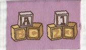"""Коврик для детской """"Кубики"""", розовый, 4,5х7 см, кукольная миниатюра 1:12 (Dollhouse), Streets Ahead арт. D1572A (mm)"""