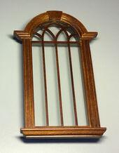 Окно со стеклом 16,5х7,5 см, орех, кукольная миниатюра 1:12 (Dollhouse) , BESPAQ арт. B701WN (Az2)