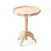 Столик круглый, на высокой ножке, неокрашенное дерево, кукольная миниатюра 1:12 (Dollhouse), Streets Ahead арт. BEF055 (mm)