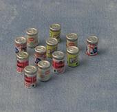 Набор из 12 банок с напитками, кукольная миниатюра 1:12 (Dollhouse), Babettes арт. D86329 (mm)