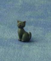 Котенок серый, сидячий, кукольная миниатюра 1:12 (Dollhouse), Babettes арт. DA75081 (mm)