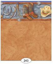"""Обои """"Вестерн"""", A, 26,5х41 см, бордюр 1,9 см, кукольная миниатюра 1:12 (Dollhouse), Itsy Bitsy Mini арт. WAL0243 (Az)"""