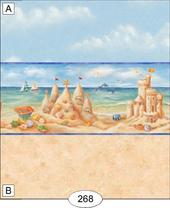 Обои с бордюром - Sandcastles, 26,5х41 см, кукольная миниатюра 1:12 (Dollhouse), Itsy Bitsy Mini арт. WAL0268B (Az)