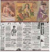 "Обои ""Ретро реклама"", A, 26,5х41 см, бордюр 2,4 см, кукольная миниатюра 1:12 (Dollhouse), Itsy Bitsy Mini арт. WAL0529A (Az)"