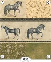 Обои с бордюром - Equestrian - Green, 26,5х41 см, миниатюра 1:12 (Dollhouse), Itsy Bitsy арт. WAL0630B (ib)