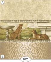 Обои с бордюром - Cheetah, 26,5х41 см, кукольная миниатюра 1:12 (Dollhouse), Itsy Bitsy Mini арт. WAL0872A (Az)