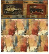 "Обои ""Ретро автомобили"", C, 26,5х41 см, бордюр 2 см, миниатюра 1:12 (Dollhouse), Itsy Bitsy Mini арт. WAL1198C (ibm)"