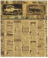 "Обои ""Ретро автомобили"", A, 26,5х41 см, бордюр 2 см, миниатюра 1:12 (Dollhouse), Itsy Bitsy Mini арт. WAL1199A (ibm)"