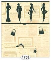 "Обои ""Мода в Париже, ретро газета"", 26,5х41 см, бордюр 2,4 см, миниатюра 1:12 (Dollhouse), Itsy Bitsy Mini арт. WAL1758 (ibm)"
